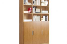 estanteria libreria 3 puertas 9 huecos acabado cerezo