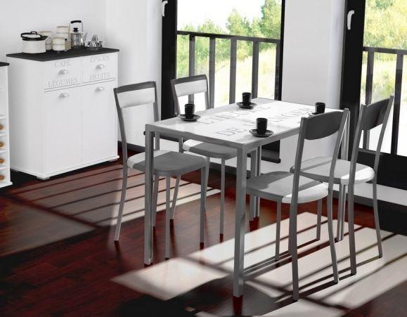 Conjunto mesa fija cocina y 4 sillas