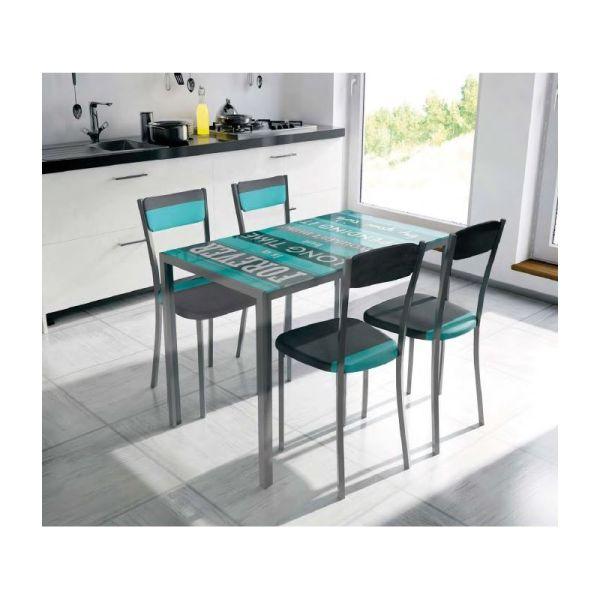 Pack side mesa y sillas cocina for Sillas metalicas para cocina