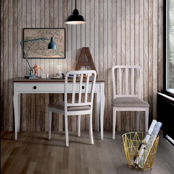 Mesa escritorio velvet con silla estilo vintage for Sillas para escritorio de madera