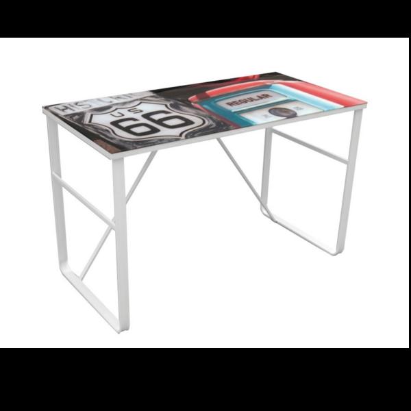 Escritorio cristal templado blanco for Mesa escritorio cristal