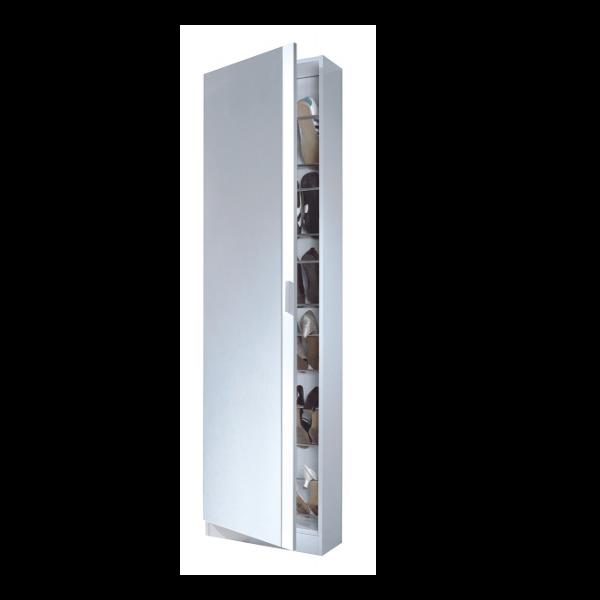 Zapatero con puerta de cristal Blanco - KitMuebles.com
