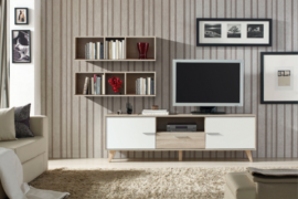 Mueble TV Roble-Blanco(Cambrian)