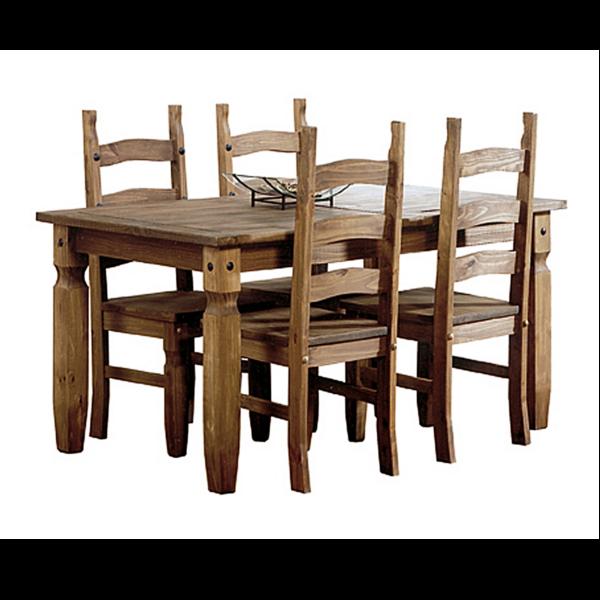 Mesa comedor rustica fija con 4 sillas for Sillas madera maciza para comedor