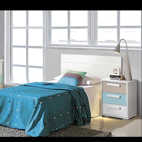 Dormitorio Juvenil cabecero con mesita acabado base blanco y combinado en diferentes colores