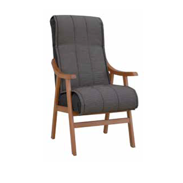Sillon fijo respaldo alto de madera - KitMuebles.com