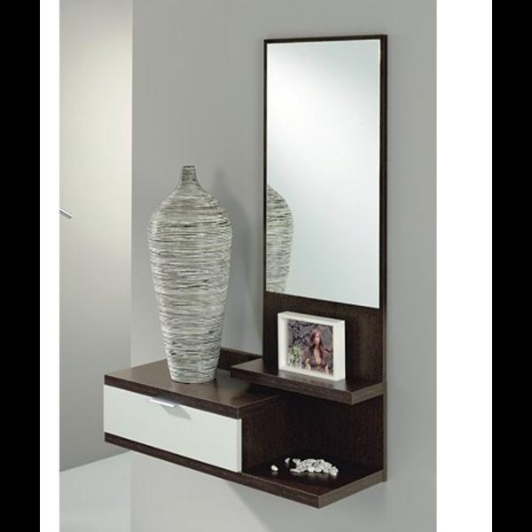 Recibidor 1 cajon y espejo modelo dahlia for Espejo recibidor blanco