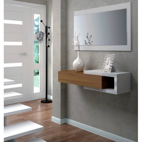 Recibidor con espejo modelo noon for Espejo recibidor blanco