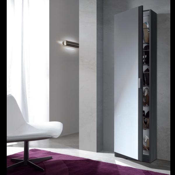 Zapatero con puerta de cristal acabado gris ceniza