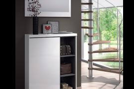 recibidor zapatero blanco brillo combinado gris ceniza-Ambiente