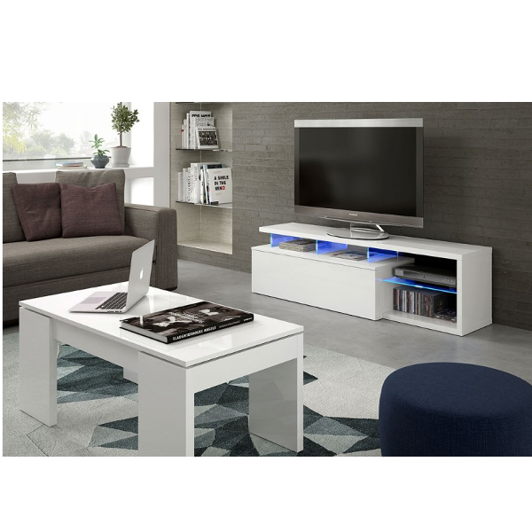 Mueble de salon tv 1 puerta con leds blue tech for Mueble salon blanco