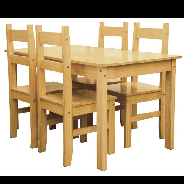 Mesa comedor de madera maciza fija 140cm con sillas for Mesa y sillas madera