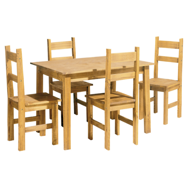 Mesa comedor de madera maciza fija 140cm con sillas for Sillas madera maciza para comedor