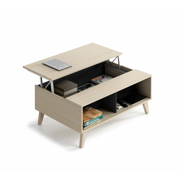 mesa centro elevable modelo zaiken acabado Roble combinado Gris Antracita, abierta