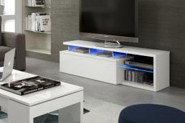 mueble de salon con estantes de cristal y led azul acabado blanco brillo