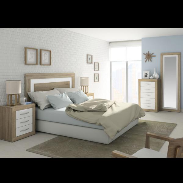 Conjunto dormitorio Jordan acabado Cambrian-Blanco Soul