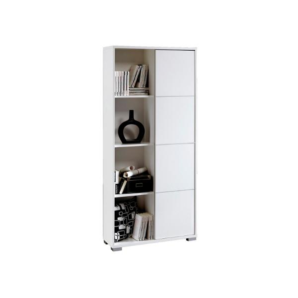 Libreria estanteria con puerta corredera blanco brillo