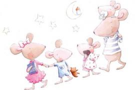 Vinilo infantil decorativo familia de ratitas