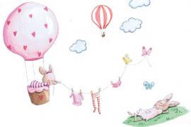 Vinilo decorativo infantil Globos y mariposas
