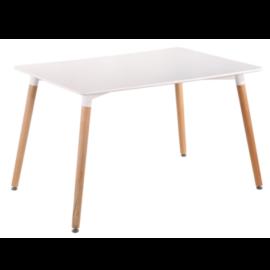Mesa fija de comedor lacada en blanco con patas de madera de haya estilo nordico