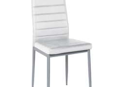Silla metalica tapizada polipiel blanca modelo SI736