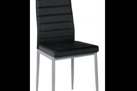 Silla metalica tapizada en polipiel negra modelo SI736