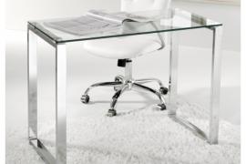 Mesa despacho de cristal con patas cromadas