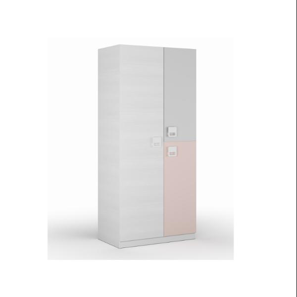 Armario juvenil puerta larga y 1 puerta partida acabado color blanco combinado con rosa pastel