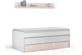 Cama nido con cajones de gran capacidad Incluye estanteria acabado blanco y color rosa pastel