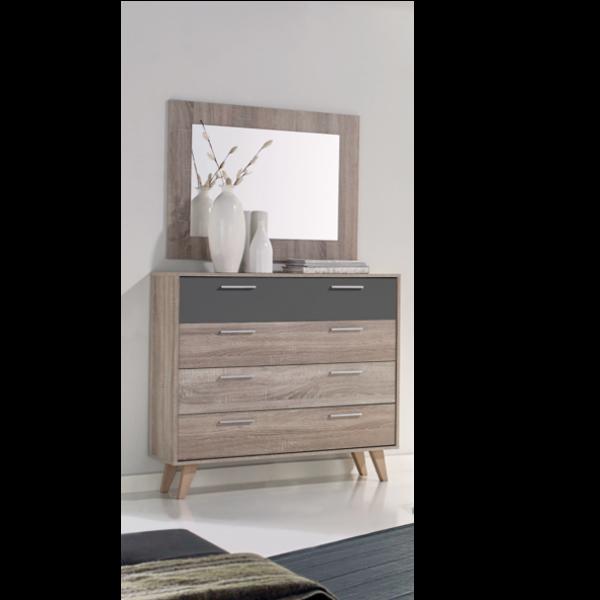 Comoda vintage 4 cajones con espejo for Espejo dormitorio juvenil
