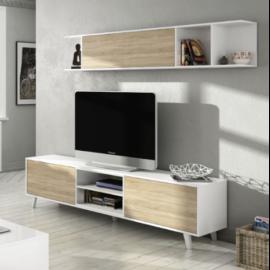 Modulo bajo Tv con estante de colgar estilo nordico acabado blanco brillo combinado roble canadian ambiente