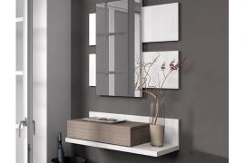 Recibidor con espejo ACABADO EN BLANCO BRILLO Y COMBINADO EN FRESNO CON 1 CAJON Y 1 ESPEJO