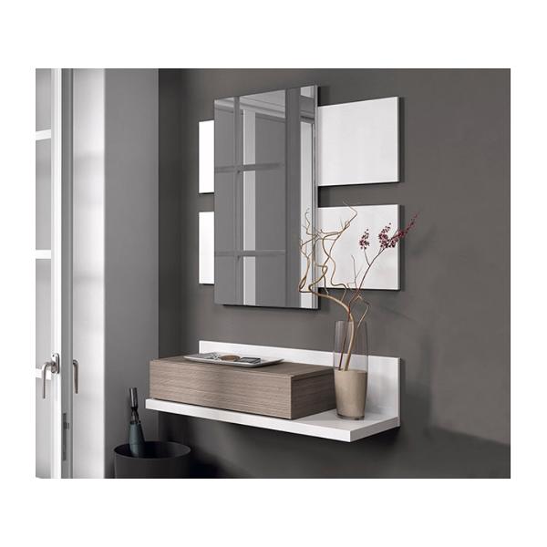 Recibidor con espejo combinado blanco fresno for Espejo recibidor blanco
