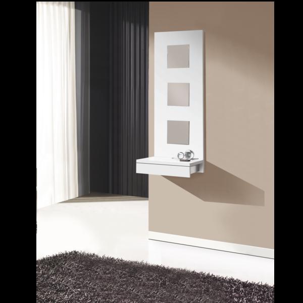 Recibidor mural 3 espejos blanco for Espejo recibidor blanco