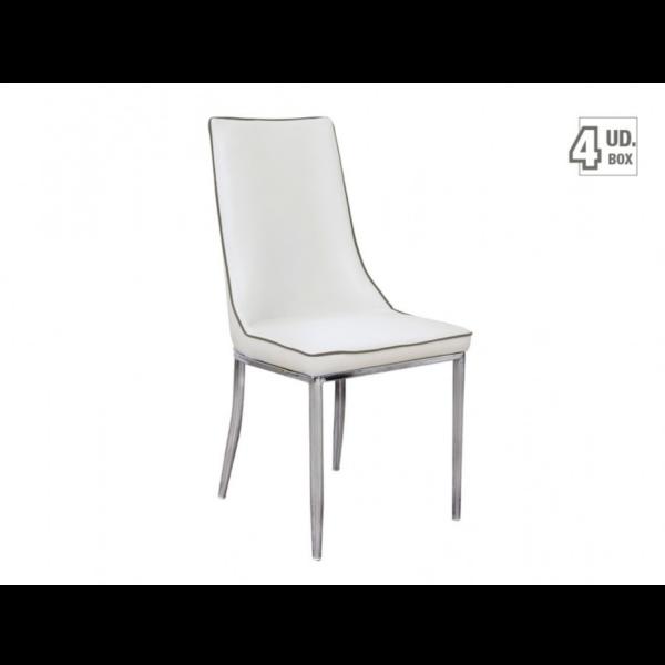 Silla modelo line tapizado blanco con reborde gris y estructura cromada