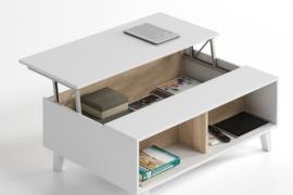 mesa centro elevable estilo nordico acabado blanco brillo combinado roble canadian