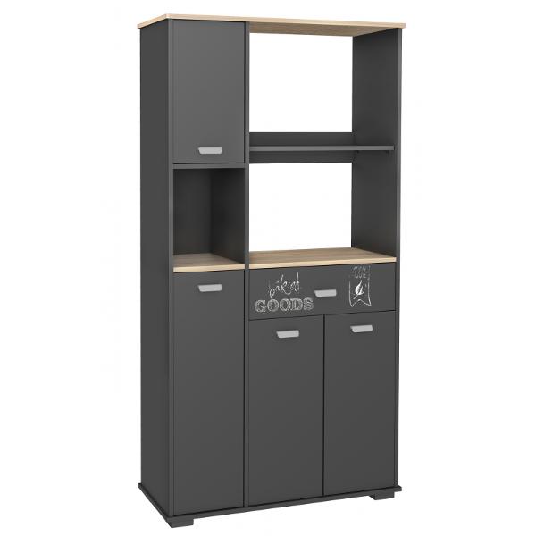 buffet 4 puertas 1 cajon acabado gris grafito. Black Bedroom Furniture Sets. Home Design Ideas