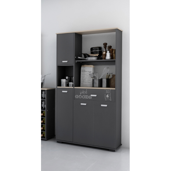 buffet 4 puertas 1 cajon acabado gris grafito. Black Bedroom Furniture Sets. Home Design Ideas