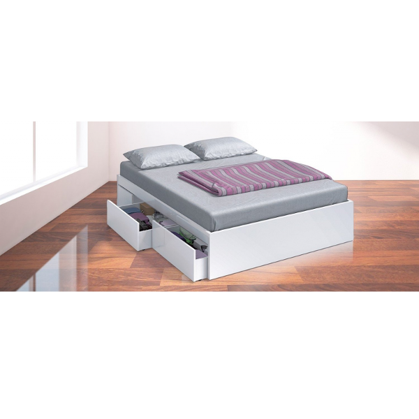 cama 4 cajones medida 150 x 190 blanco brillo