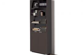 Libreria-estanteria con puertas modelo Boston acabado wengue