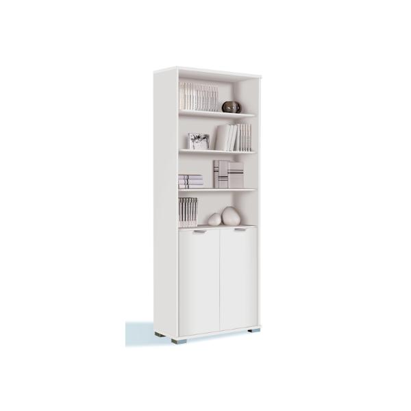 Libreria estanteria de pie blanco brillo con puertas