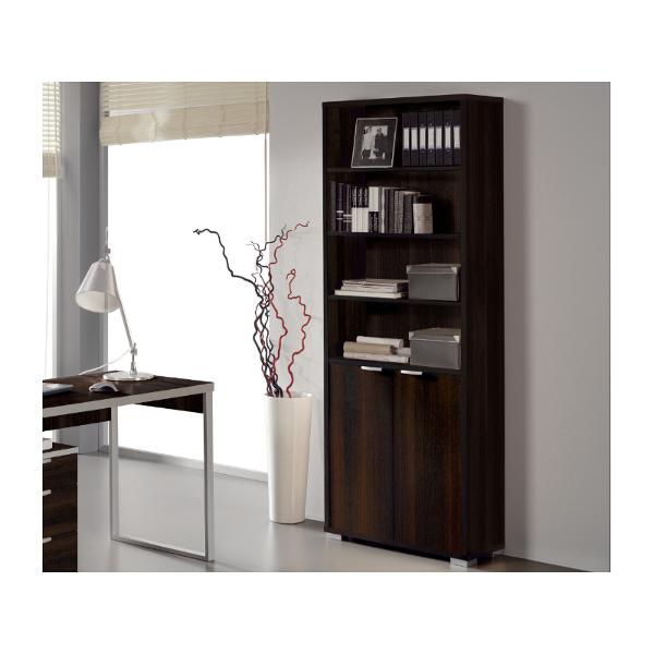 Libreria estanteria con puertas wengue modelo boston for Estanteria bano wengue