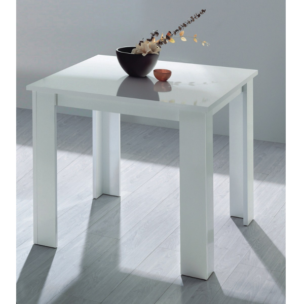 Mesa de comedor blanco brillo 90x90 fija for Mesa comedor 90x90