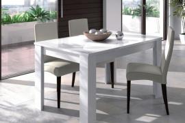 Mesa de comedor blanco brillo 90x140 extensible