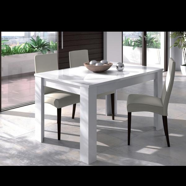 Mesa de comedor blanco brillo 90x140 extensible - Muebles utrera ...