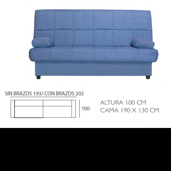 Sof cama modelo bed 1 loneta liso - Sofa cama medidas ...
