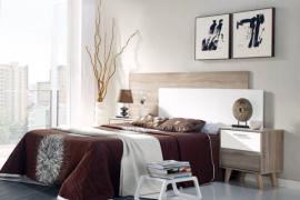 Dormitorio matrimonio con patas acabado Roble-cambrian combinado blanco