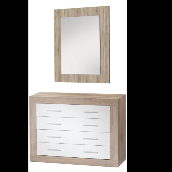 Comoda 4 cajones con espejo acabado Cambrian-robre combinado blanco