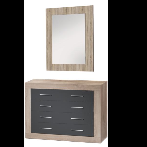 Comoda 4 cajones con espejo cambrian for Comoda con espejo ikea