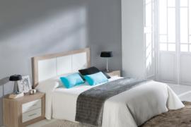 Dormitorio matrimonio Cambrian Blanco con mesita 2 cajones